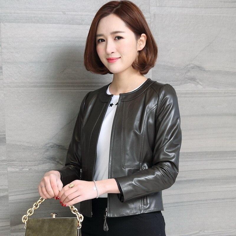 Women's Genuine Leather Jackets Female Short Motorcycle Jacket Natural Sheepskin Coats Female Spring Clothes 2020 LWL1441