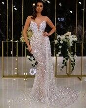 Kaftans Glitter Strapless Mermaid Evening Dress Floor-Length Sequins Prom Dress вечернее платье Middle East Saudi Arabia Dubai