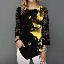 Shirt Blouse Women Plus Size 2XL Fashion New Spring Summer print Black Tops 3/4 Lace Sleeve Elasticity Female Shirt Casual(China)