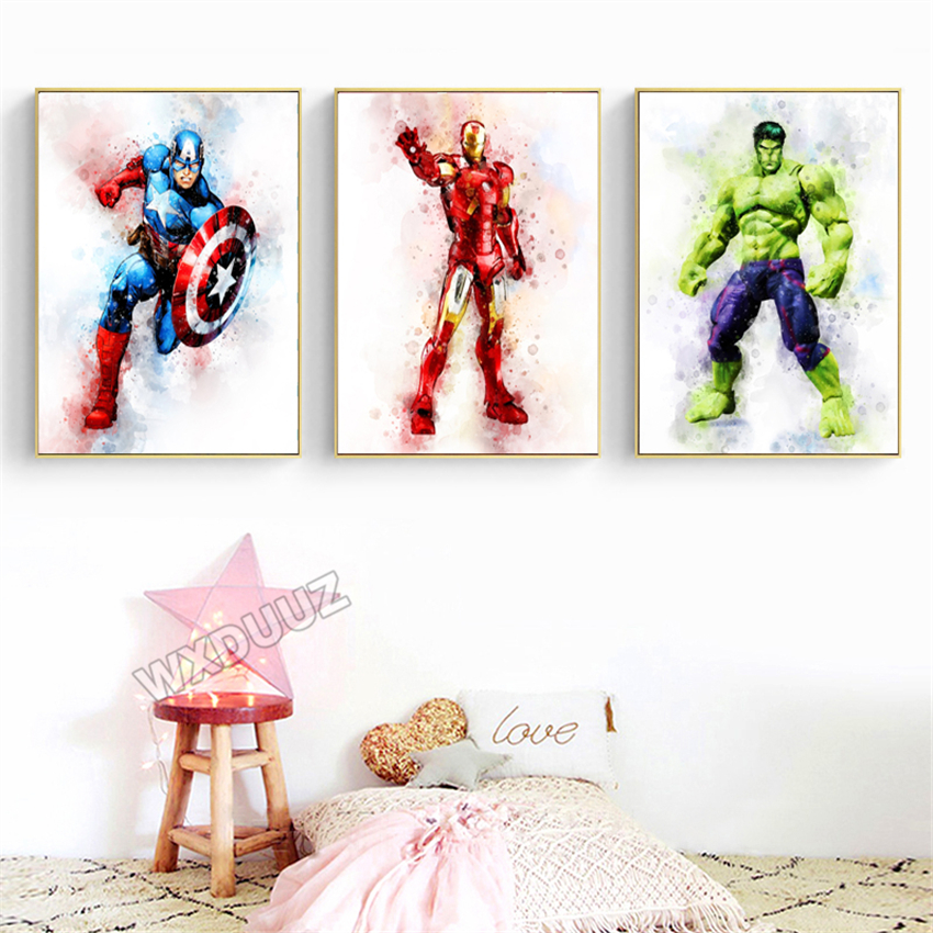 Watercolor Marvel Superhero Movie Poster Iron Man Painting Picture For Kids Room Decor Art Decor Living Canvas Painting K353 Buy At The Price Of 1 74 In Aliexpress Com Imall Com