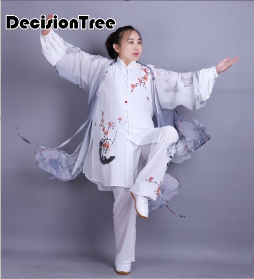 2019 Tai Chi Uniform Martial Arts Performance Suit Jiu Jitsu Wushu Kung Fu Floral Print Novelty Wash Painting Leisure Shawl