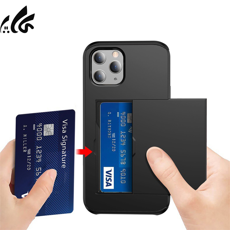 Wallet Slide Card Case For Iphone 12 Pro Mini 12 Promax Phone Shell Slot Holder Cover Silicone Anti-Fall Protective Back Solid