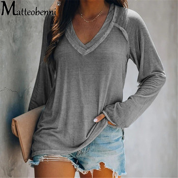 Spring Autumn Women Sexy V-Neck T Shirts Long Sleeve Loose Pullover T-Shirt Basic Casual Tops Female Solid Color Tee Shirt