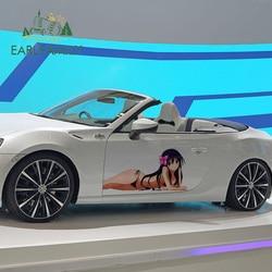 EARLFAMILY 58cm x 28.8cm Big Car Stickers for Sexy beauty Accel World Kuroyukihime DIY Decals Waterproof Vinyl Car Wrap Decor