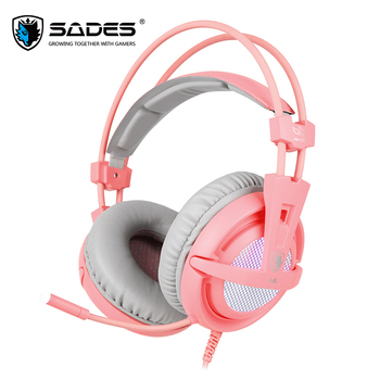 SADES A6 USB 7.1 Stereo wired gaming headphones game headset over ear with mic Voice control for laptop computer gamer 2