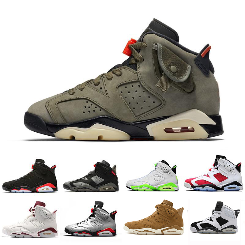 High Quality Travis Scotts X 6 Retro Medium Olive <font><b>Men</b></font> <font><b>Basketball</b></font> Shoes Tinker Infrared Cactus Oregon <font><b>Mens</b></font> Sports <font><b>Sneaker</b></font> 7-13 image