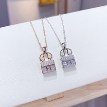 Delicate Copper Rose Gold  Full Rhinestone Bag Pendant Necklace For Women Party Prom   Personality Necklace delicate alloy geometric necklace for women