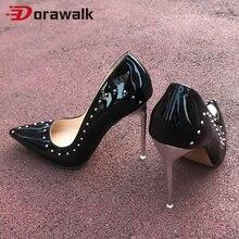 Sexy rebites salto alto 11 cm chique bombas femininas marca apontou dedo do pé stilettos fetiche clube mostrar festa senhoras vestido sapatos mais tamanho 46