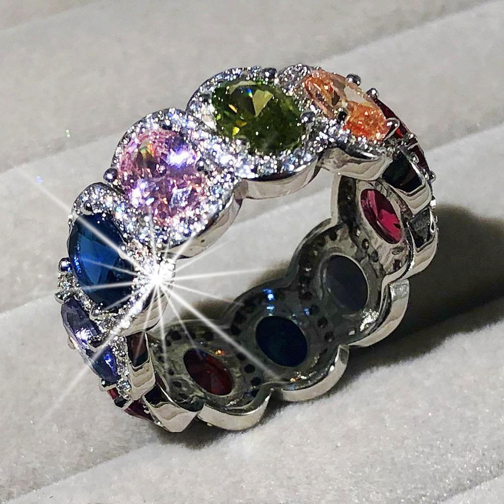 2019 New 925 SILVER RINGS FOR WOMEN PAVE OVAL Cut Multicolor Gemstone Ring ETERNITY BAND ENGAGEMENT WEDDING Finger JEWELRY
