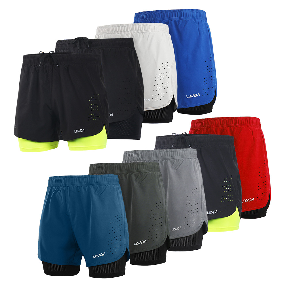 Lixada Men's 2-in-1 Running Sport Shorts Quick Drying Breathable Gym Training Exercise Jogging Cycling Shorts With Longer Liner 1