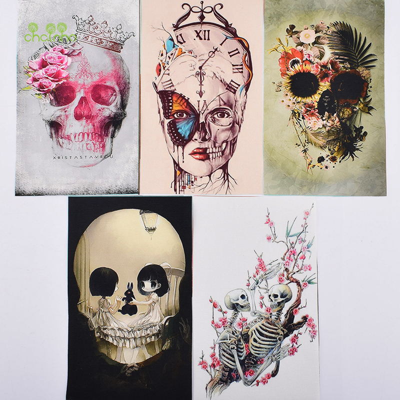 Hand Dyed Fabric,Cartoon Skull Cotton Canvas Fabric for DIY Sewing Quilting,Purse,Bag,Book Cover,Home Decoration Material,<font><b>12x20</b></font> image