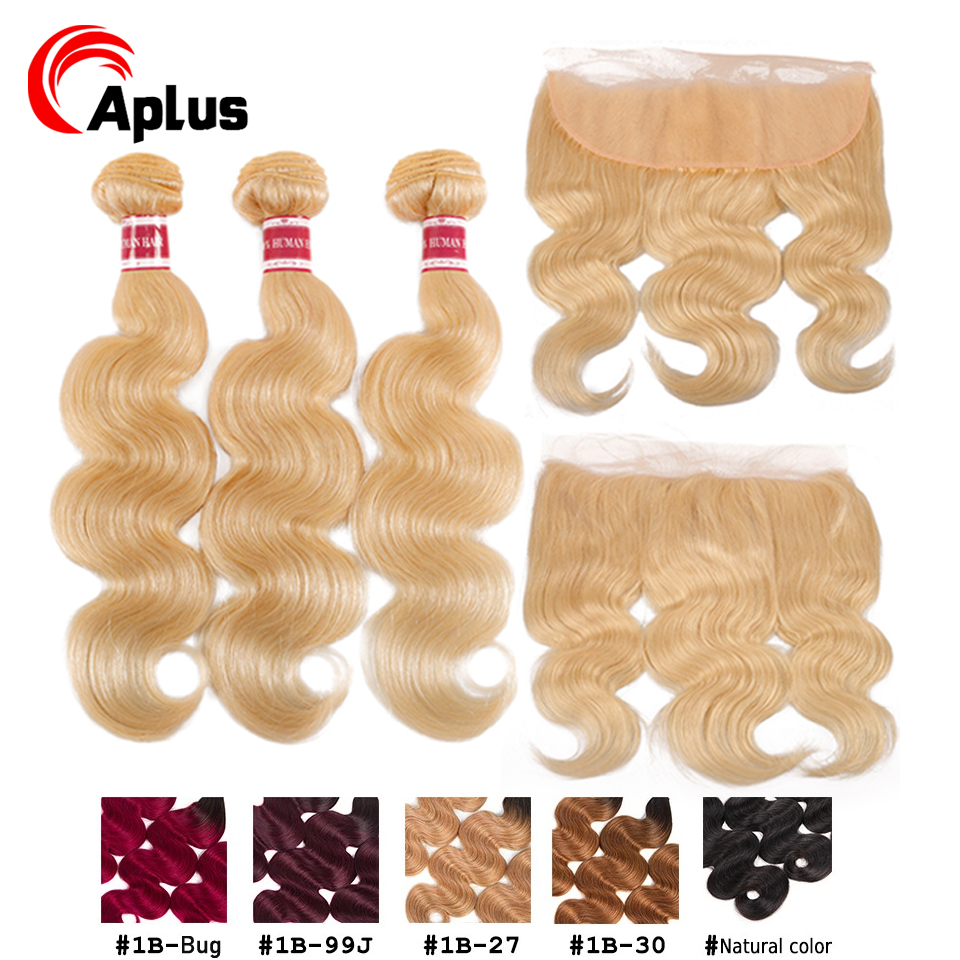 Blonde Body Wave Bundles With Frontal Closure Remy Hair Dark Root 1b 27 30 99j 613 Pre Colored Bundles With Closure  Can Be Dyed