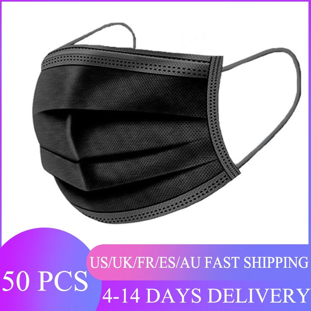 Mascarilla desechable antipolvo de 3 capas, máscara con filtro, transpirable, 50 Uds.