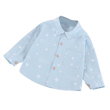 Blouse Shirt Tops Toddler Baby-Boys Cotton Tee Long Fashion Sleeve Letter Print Gentleman