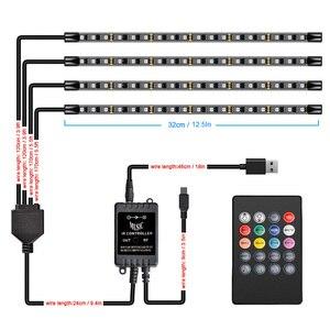 5V USB Car RGB nastrojowe oświetlenie lampa stóp dekoracyjne oświetlenie otoczenia zapalniczka USB pilot wnętrze LED pasek świecący Accessor