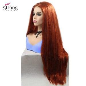 Image 3 - Strongbeauty peluca larga recta para mujer, pelo ombré negro/rojo, sintética, con encaje frontal