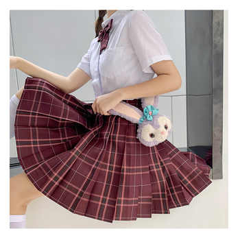 Japanese School Uniforms Red Plaid Skirts Girl\'s Dresses JK Suits Bowknot Shirt Female Sailor Costumes Dress Clothes for Women