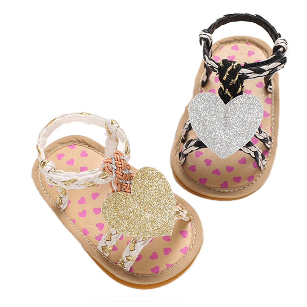 Princess Newborn Infant Baby Girl Shoes Summer Cute Sequins Heart Sandals Soft Toddler Baby Girls Knitted Beach Shoes