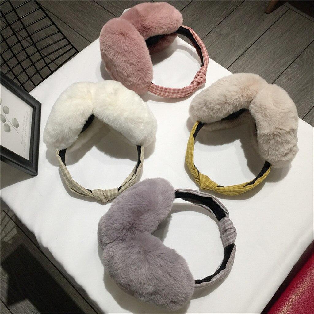 Ear Warmer Women Funny Winter Earmuffs Faux Fur Headband Knot Warmer Plush Party Oorwarmers