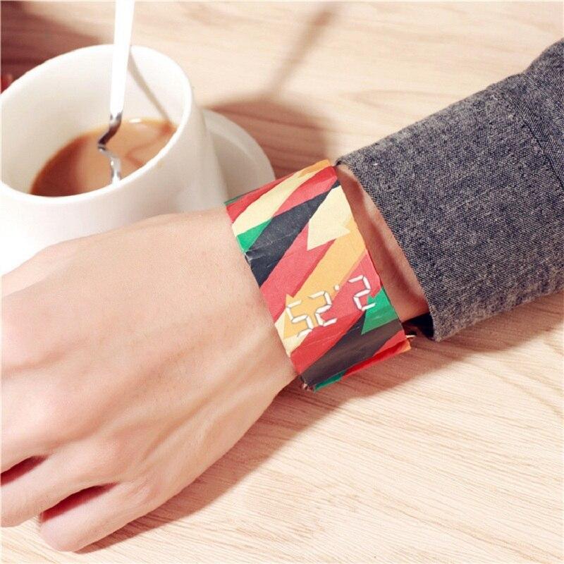 Хорошо выглядящий Водонепроницаемый браслет Бумага Часы светодиодный часы хорошее Бумага наручные часы спортивные часы наручные часы