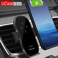 10 W Qi cargador inalámbrico para iPhone 11 Pro Xs Max X 8 Samsung S20 S10 inalámbrico rápido carga infrarrojo automático soporte de Clip de coche