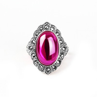 JSH Thai Silver Yellow Green Chalcedony Agate Forefinger Middle Finger Ring Silver Accessories Cool Retro Big Ring Women's Day S