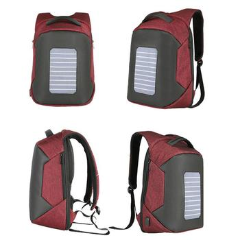 Solar Powered Backpack with USB Charging Port Waterproof Oxford Fabric Travel School Daypack for 15.6 inch Laptop Notebook