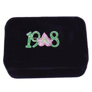 Металлический кристалл, эмаль, греческое письмо, год основания, 1908, кленовый, розовый, зеленый, Альфа ка Альфа ака, AKA, броши, школьные, студенческие, сувениры, подарки