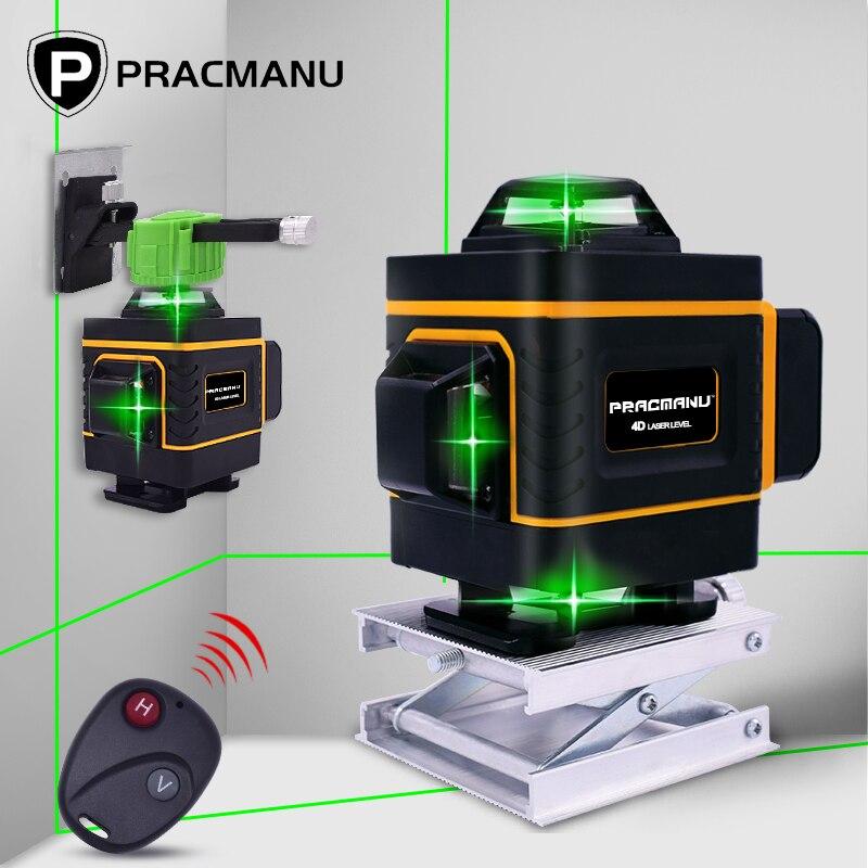 Pracmanu 16 linhas 4d laser nível 360 cruz horizontal e vertical super poderoso auto nivelamento linha verde laser nível|Níveis de laser|   -
