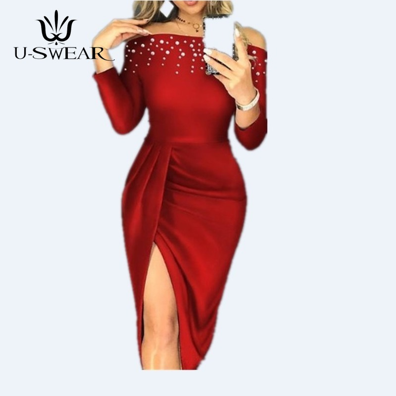 Sexy Fashion Slim Slash Neck Beaded Split Dress Sheath Casual Women Clothes Bodycon Evening Party Dress Vestidos Verano