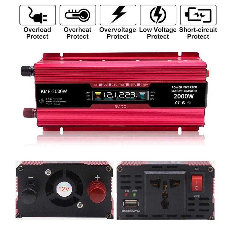 Автомобильный инвертор напряжения DC 12 В/24 В в AC 220 В ЖК-дисплей 600 Вт 1200 Вт 2000 Вт Зарядное устройство Трансформатор Мощность USB конвертер Солне...