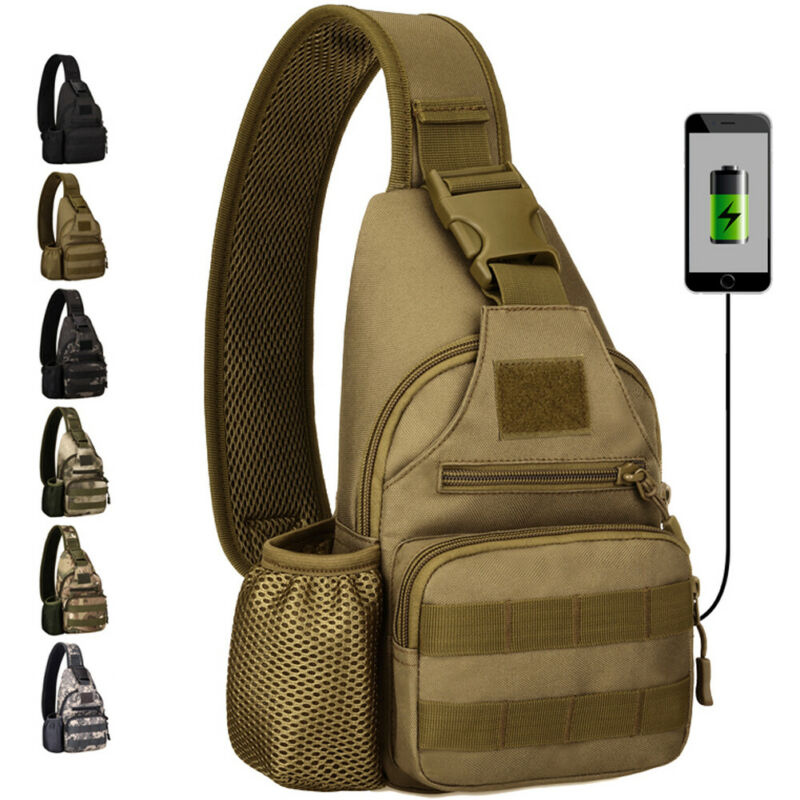 Men Tactics Shoulder Bag Sling Chest Pack USB Charging Sports Crossbody Handbag