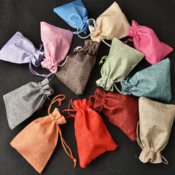 1pc Drawstring Natural Burlap Bag Jute Gift Bags Multi Size Jewelry Packaging Wedding Bags with Cand