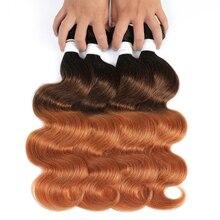 גוף גל Ombre שיער טבעי חבילות 1/3/4pcs דבש בלונד חום ברזילאי שיער Weave חבילות שאינו רמי שיער הרחבות SOKU