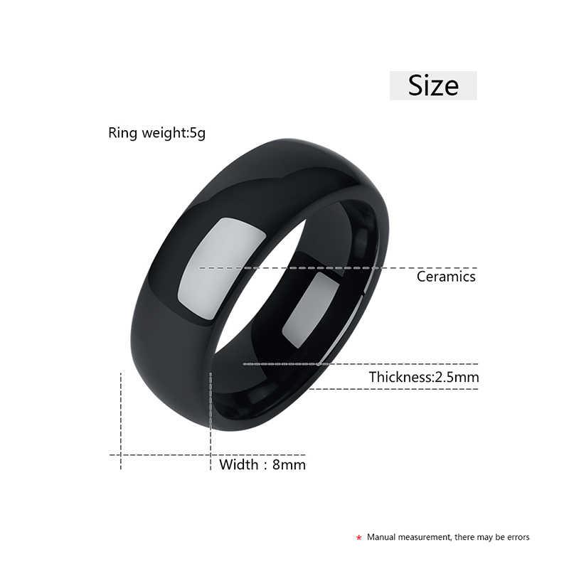 Nunca desvanece-se 8mm de largura anéis de cerâmica para homens mulher legal anéis de banda suave confortável anéis de noivado de casamento tamanho 6-10