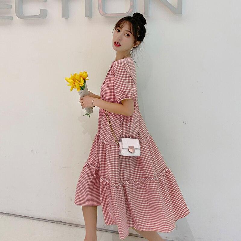 8182# Sweet Plaid Linen Maternity Nursing Dress Summer Fashion Large Size Loose Feeding Clothes For Pregnant Women Pregnancy