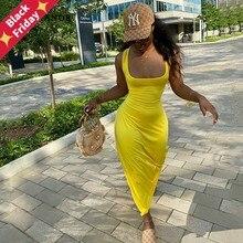 ANJAMANOR Sexy Aushöhlen Backless Maxi Kleid Frauen Kleidung Ärmellose Lange Sommer Kleider für Frauen Casual Vestidos D42-CC29