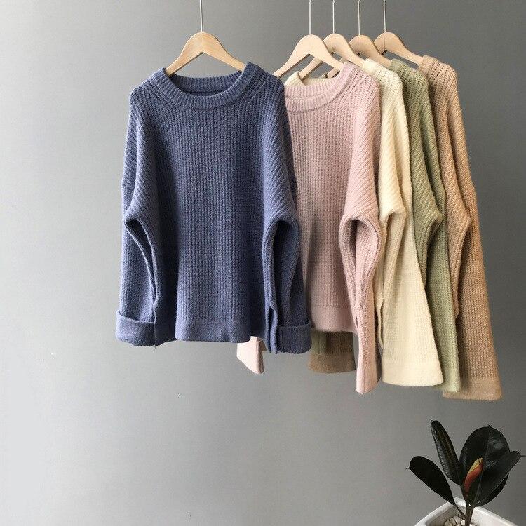 Mooirue Winter 2019 Female Korean Style Sweater Loose Thicken Elastic Sweater Femme Pink Grey Tops