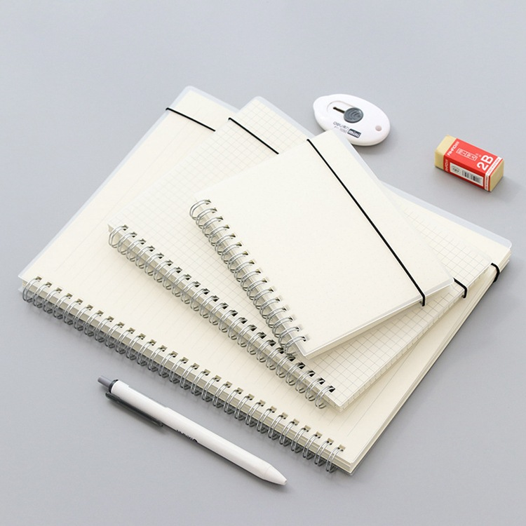 A6/A5/B5 Spiral Transparent Cover Notebook Papelaria Stationery Small Diary Notepad Dotted Grid Blank Planner Agendas School