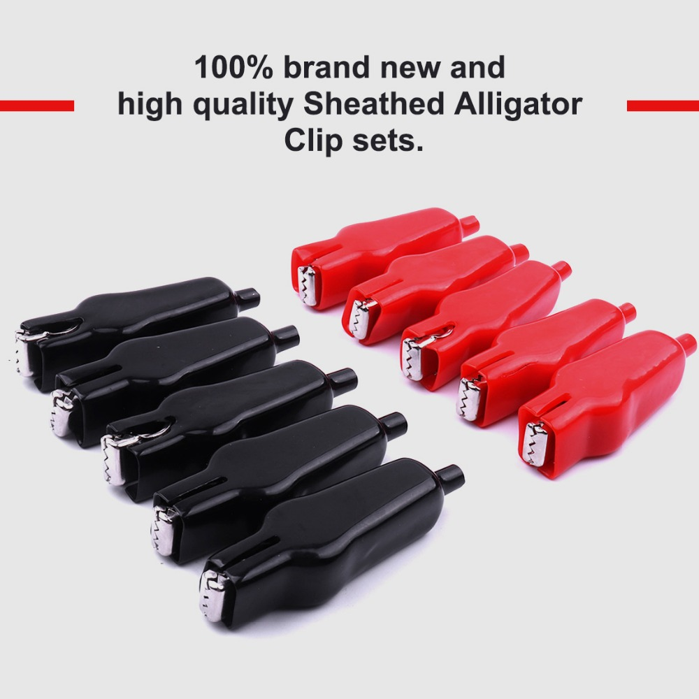 10Pairs Alligator Leads Test Clip for Electrical Jumper Wire Cable Red /& Black