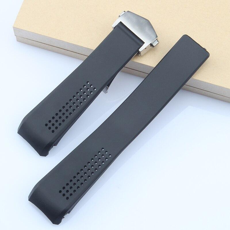 Ремешок силиконовый для наручных часов, черный изогнутый браслет с застежкой-молнией, 20 22 24 мм