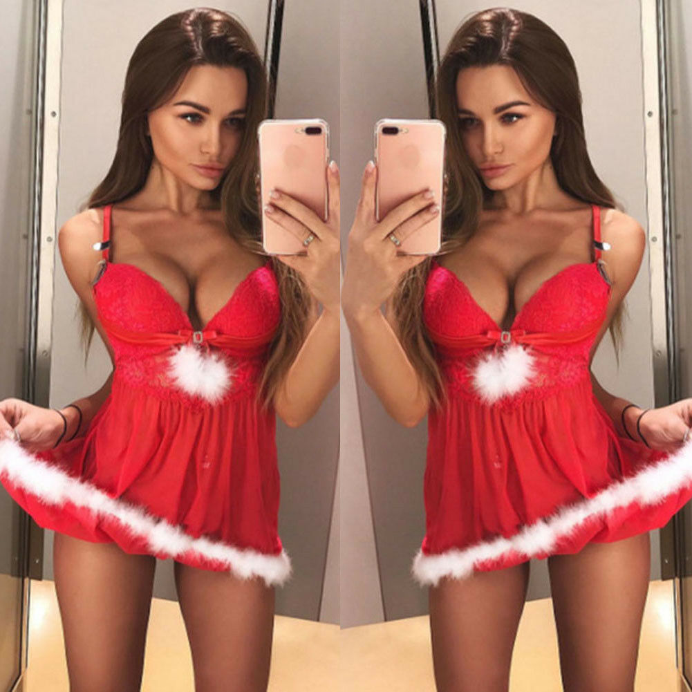 Women's New Short Christmas Xmas Sexy Lingerie Feather Deep V neck Red Lace Sleepwear Underwear Fancy   Nightgowns