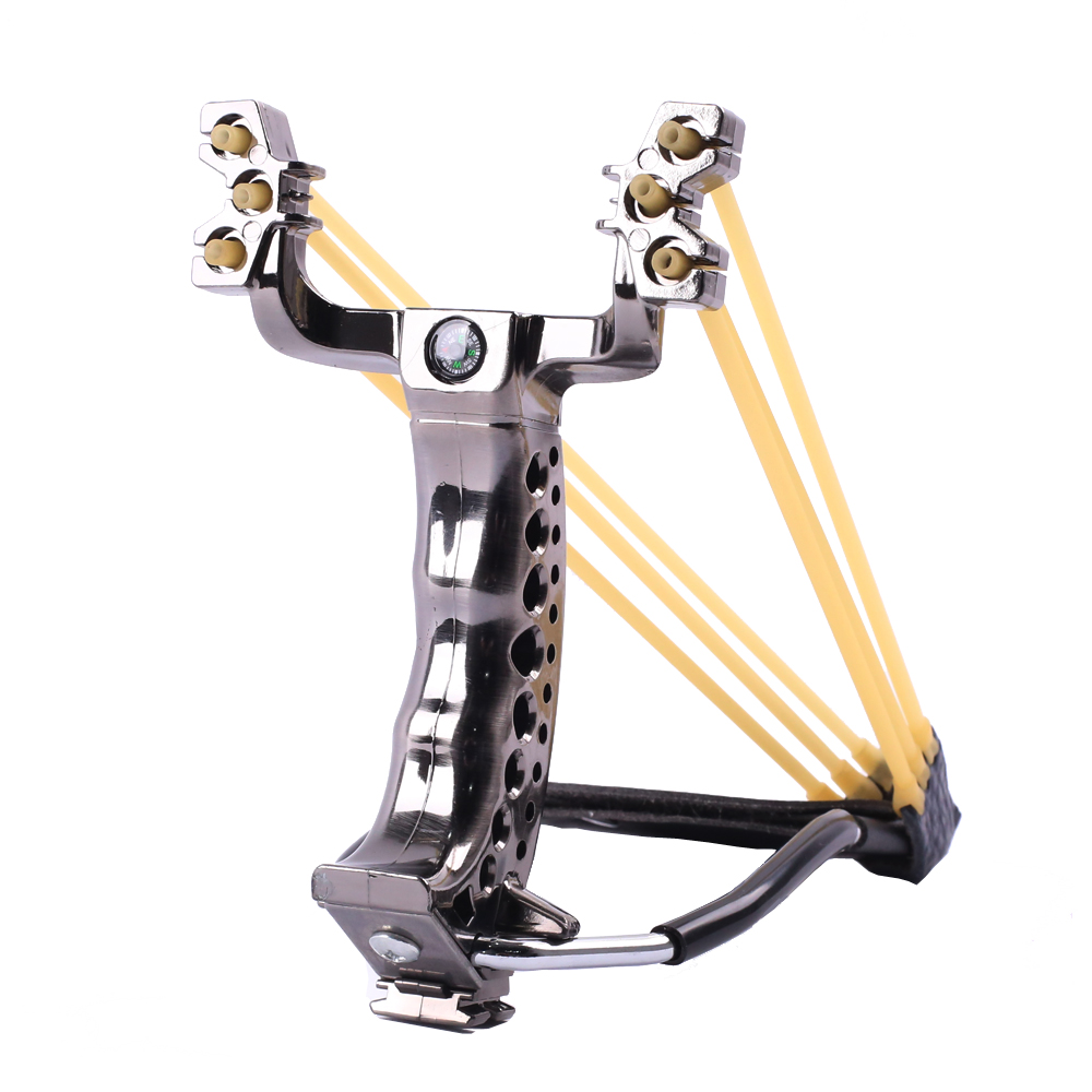 Powerful Hunting Slingshot With Wrist Support and Compass Decoration Catapult Professional Slingshot for Outdoor Shooting