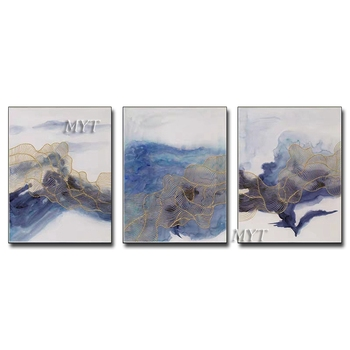 Free Shipping 3PCS As 1 Set Hand Painted Modern Oil Painting On Canvas Home Decor Wall Art Picture For Living Room No Frame