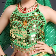 Children Hot selling on Sale Cheap Coins Sexy Belly Dance Top Size Bra for Girls Kid 4 Colors Available Bellydance Bra Top New(China)