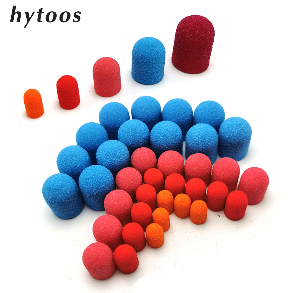 HYTOOS 20Pcs Plastic Base Sanding Caps Pedicure Polishing Sand Block Drill Accessories Foot Cuticle Tool  With Rubber Grip