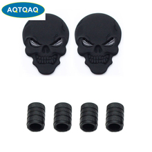 AQTQAQ 3D Metal Skull Head Car Badge Emblem Sticker +4Pcs Knurled Style With Plastic Core Valve Caps for Universal Car Styling D