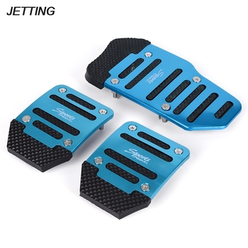New 3pcs Aluminium Alloy Foot Treadle Cover Pad Car Auto Vehicle Non-slip Pedal Blue Car Accessories image