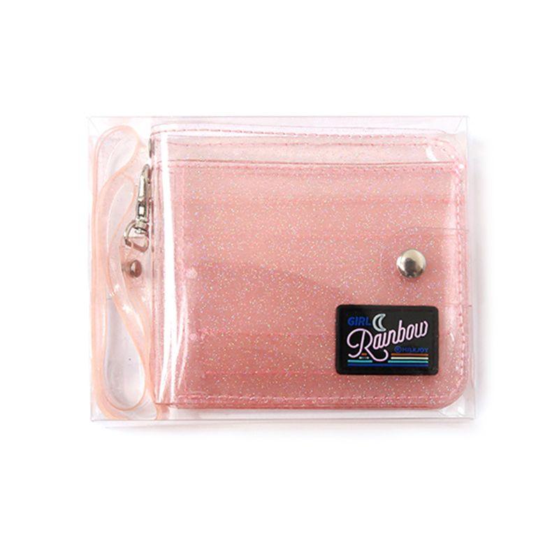 3 Colors Transparent ID Card Holder Wallets PVC Folding Lanyard Short Wallet Fashion Women Girl Glitter Business Card Case Purse