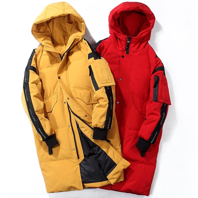 80% de pato branco para baixo jaqueta de neve com capuz para baixo parkas 30 graus rússia inverno para baixo jaqueta masculina moda grossa longo casaco - 2